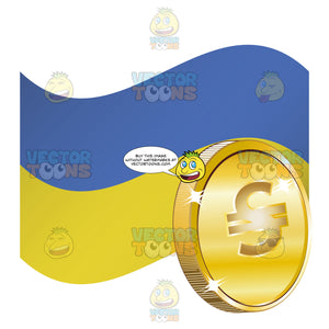 Ukraine Flag With Hryvnia Sign On Gold Coin