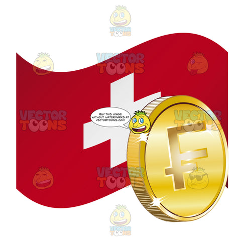 Flag Of Switzerland With Swiss Franc Sign On Gold Coin