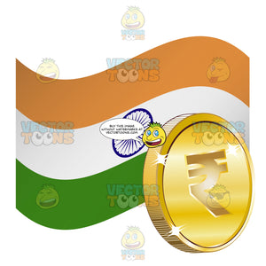 Flag Of India With Indian Rupee Gold Coin Currency