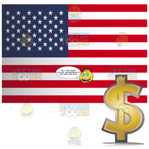 United States Of America Flag With Golden Dollar Currency Sign With It