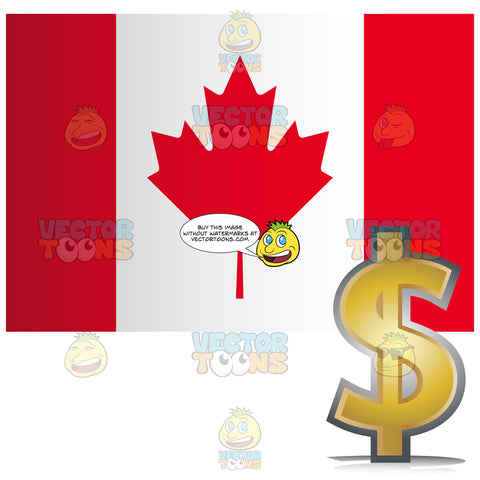 Canada Flag With Golden Dollar Currency Sign Symbol