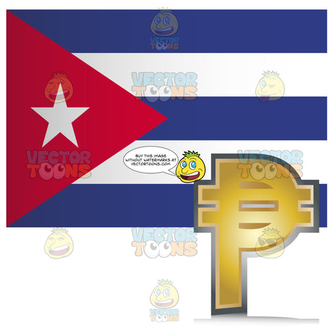 Cuba Flag With Golden Pesos Currency Sign Symbol In Coner