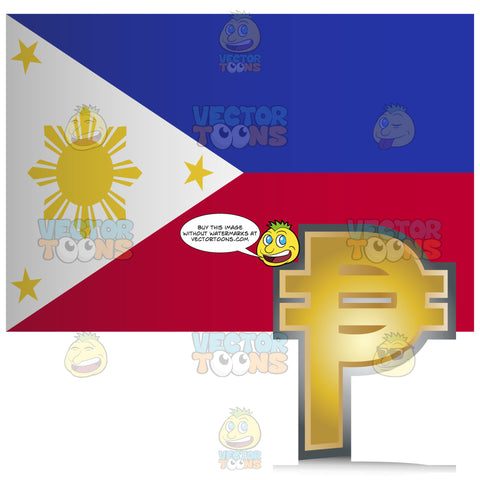 Philippines Flag With Golden Peso Currency Sign Symbol In Corner