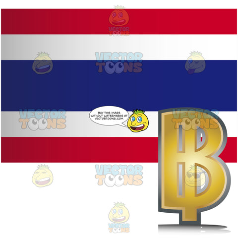 Thailand Flag With Golden Baht Currency Sign Symbol In Corner