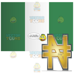 Nigeria Flag With Golden Naira Currency Sign Symbol In Corner