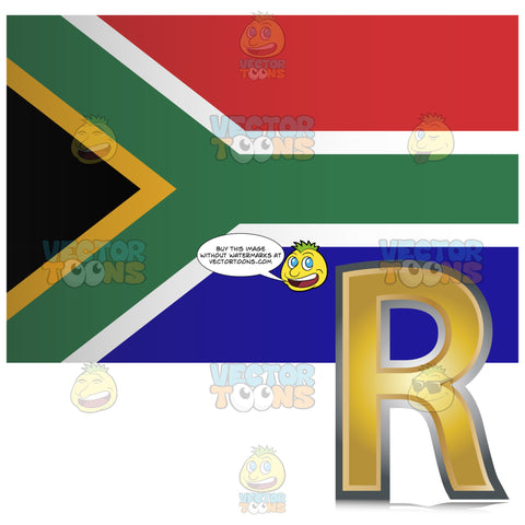 South African Flag With Golden Rand Currency Sign Symbol In Corner