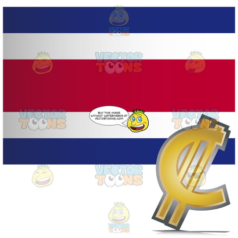 Costa Rica Flag With Golden Colón Currency Sign Symbol In Corner