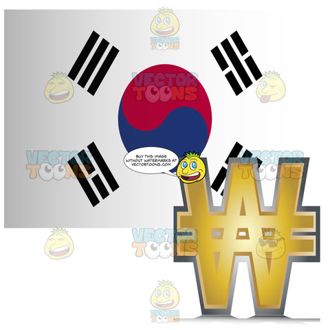 South Korea Flag With Golden Won Currency Sign Symbol In Corner