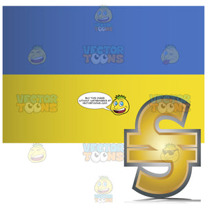 Ukraine Flag With Golden Hryvnia Currency Sign Symbol In Corner