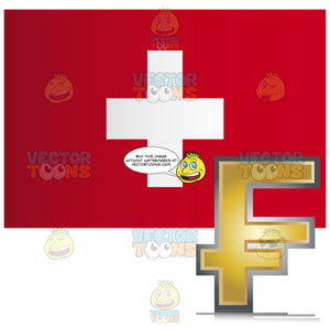 Switzerland Flag With Golden Franc Currency Sign Symbol In Corner