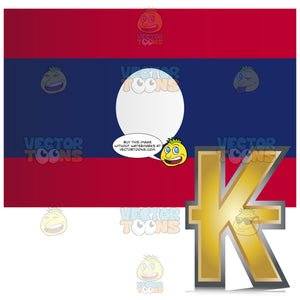 Flag Of Laos With Colden Lao Kip Currency Symbol In Corner