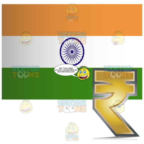 India Flag With Golden Rupee Currency Sign Symbol In Corner