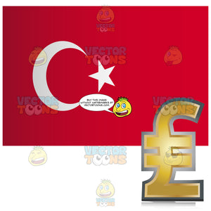 Republic Of Turkey Flag With Golden Turkish Lira Currency Sign Symbol In Corner