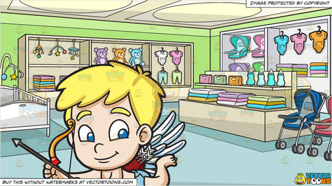 Cute Cupid Flying Around and The Baby Department Of A Department Store Background