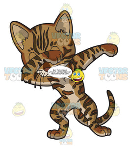 A Bengal Cat Doing The Dab