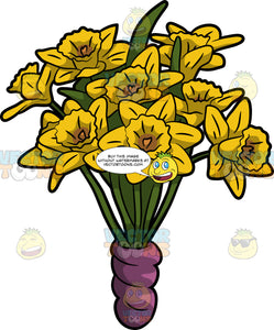 A Bunch Of Daffodil Flowers In A Vase