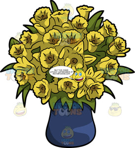 A Bundle Of Daffodil Flowers In A Vase