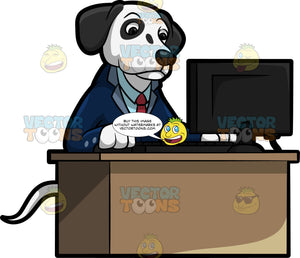 A Dalmatian In A Business Suit Using The Computer