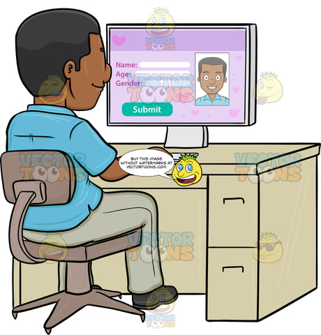A Black Man Editing His Online Dating Profile On A Desktop Computer