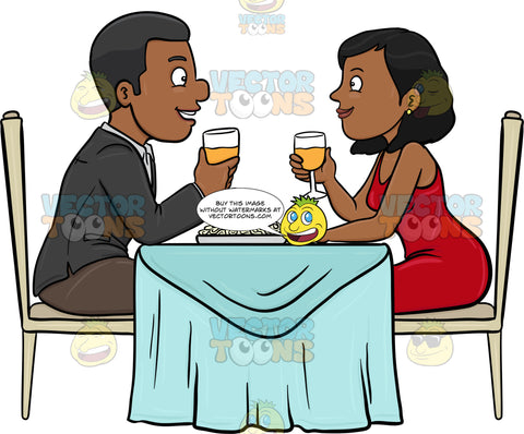 A Black Couple Enjoying A Romantic Dinner Date In A Restaurant