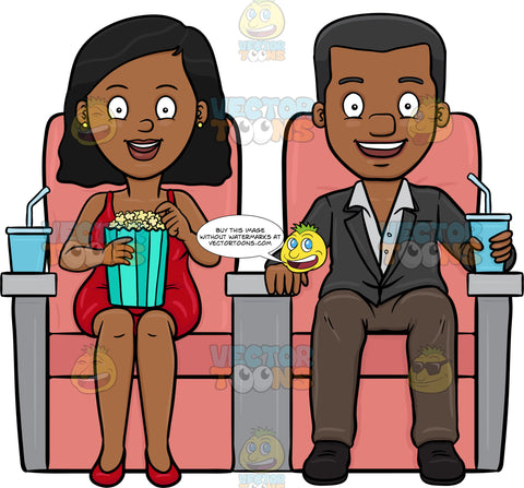 A Black Couple Enjoying A Movie Date After Dinner