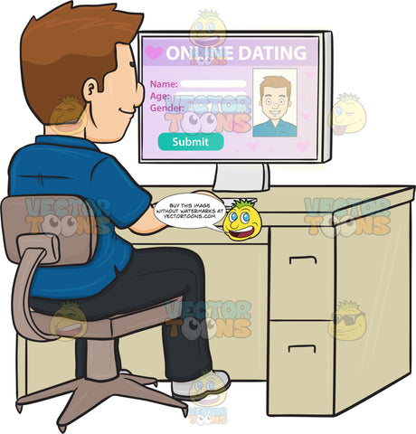 A Man Editing His Online Dating Profile On A Desktop Computer