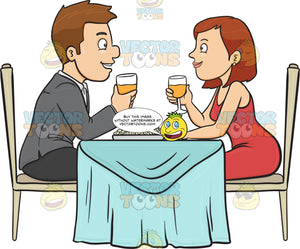 A Couple Enjoying A Romantic Dinner Date In A Restaurant