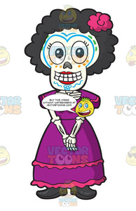 Day Of The Dead Skeleton Of A Shy Woman