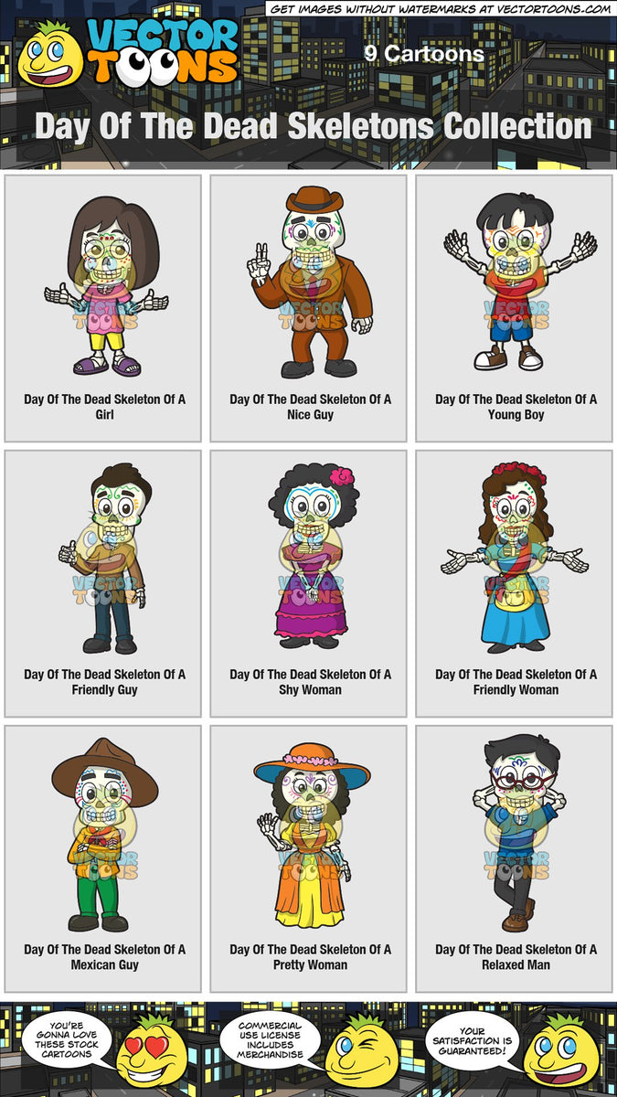 Day Of The Dead Skeletons Collection – Clipart Cartoons By ...