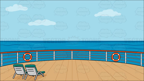 Deck Of A Cruise Ship With Deck Chairs Background