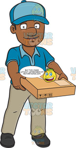 A Black Delivery Man Carrying A Flat Box