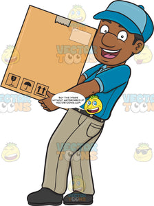 A Black Delivery Man Delivering A Large Box
