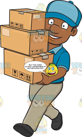 A Black Delivery Man Carrying Multiple Packages