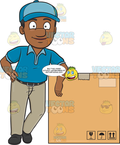 A Black Delivery Man Poses Beside A Jumbo Box