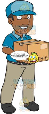 A Black Delivery Man Carrying A Medium Package