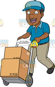 A Black Delivery Man Pushing A Trolley With Multiple Boxes