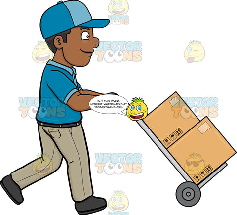 A Black Delivery Man Transporting Multiple Packages