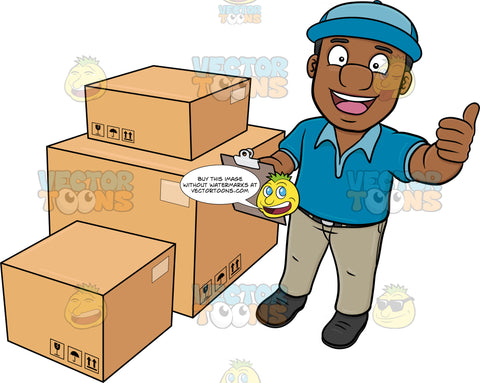A Black Delivery Man Finishing His Package Inventory