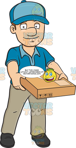 A Delivery Man Carrying A Flat Box