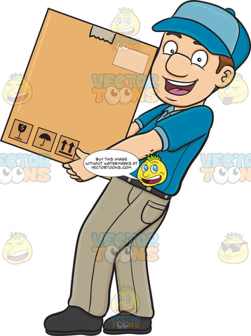 A Delivery Man Delivering A Large Box