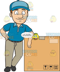 A Delivery Man Poses Beside A Jumbo Box
