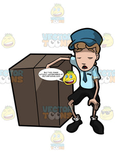 A Courier Delivery Boy Taking His Time To Rest After Carrying A Huge Package Box