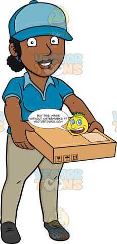 A Black Delivery Woman Carrying A Flat Box
