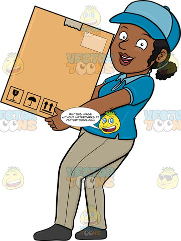 A Black Delivery Woman Delivering A Large Box