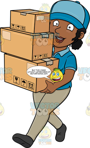 A Black Delivery Woman Carrying Multiple Packages