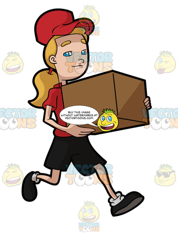 A Female Courier Employee Runs To Deliver A Package On Time