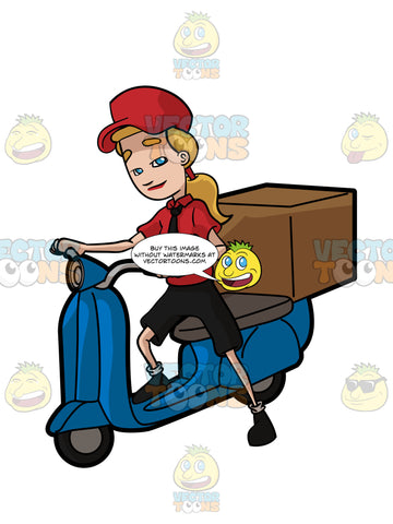 An Express Female Courier Employee Riding A Scooter