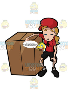 A Courier Delivery Girl Taking Her Time To Rest After Carrying A Huge Package Box