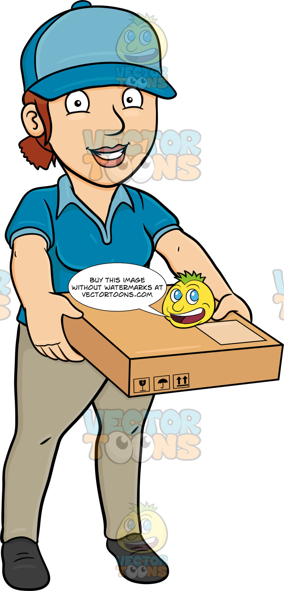 A Delivery Woman Carrying A Flat Box