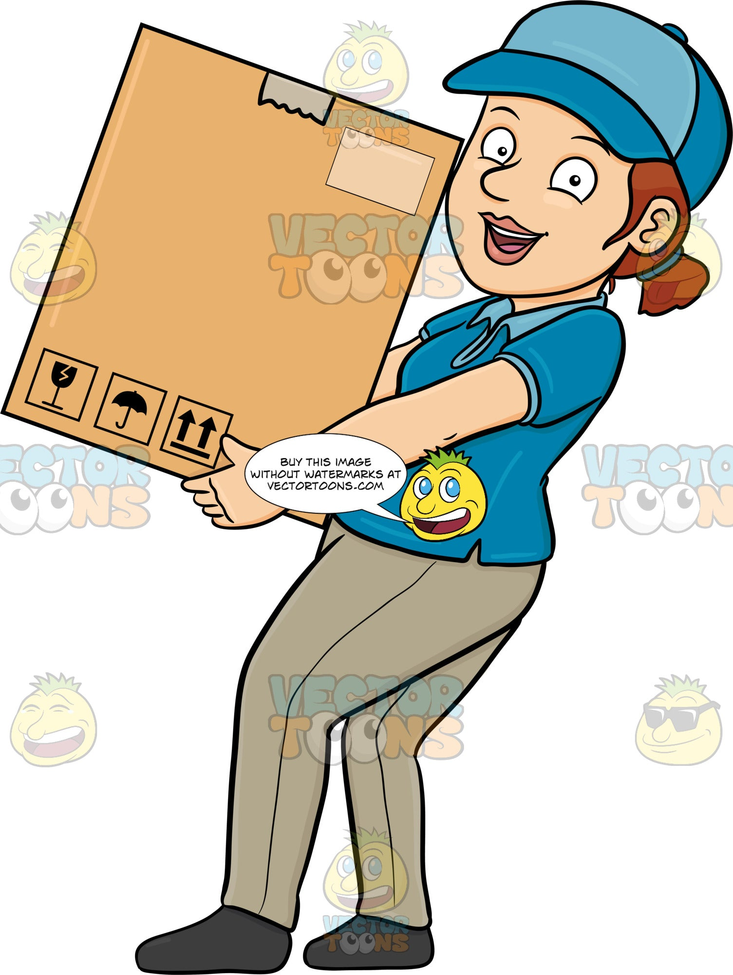 A Delivery Woman Delivering A Large Box